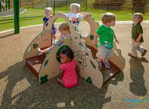 Up132 | Crawl And Toddle With Brown Plastisol Decking Playground Equipment