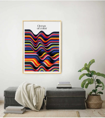 Limited Edition Print art piece, waves of colours, comfortable furniture, oak settings white walls and bright spacious living room