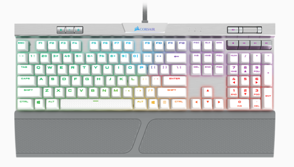 K70 SPEED Mechanical Gaming Keyboard, Backlit RGB LED, Silver w/ White PBT Double-Shot Keycaps