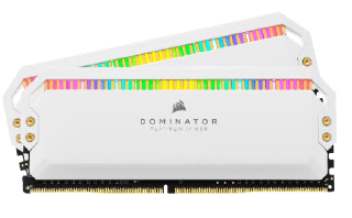 CORSAIR DOMINATOR PLATINUM RGB DDR4, 3200MHz 32GB 2x16GB DIMM, Unbuffered, 16-18-18-36, XMP 2.0, White Heatspreader, RGB LED, 1.35V