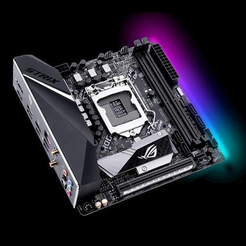 ASUS Intel B360 mini-ITX gaming motherboard with Aura Sync RGB LED lighting, Intel 802.11ac Wi-Fi, pre-mounted I/O shield, dual M.2, SATA 6Gbps