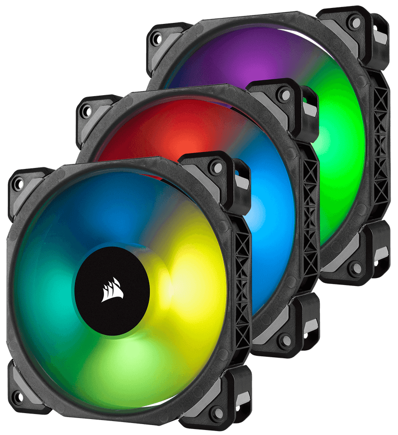 Corsair ML120 PRO RGB, 120mm Premium Magnetic Levitation RGB LED PWM Fan, 3 Fan Pack, with Lighting Node PRO