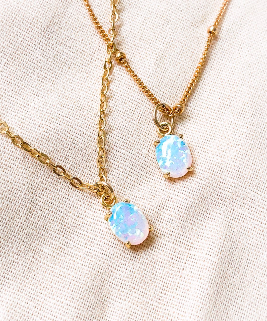 14K Gold Filled Satellite Necklace with Oval Synthetic Opal Pendant