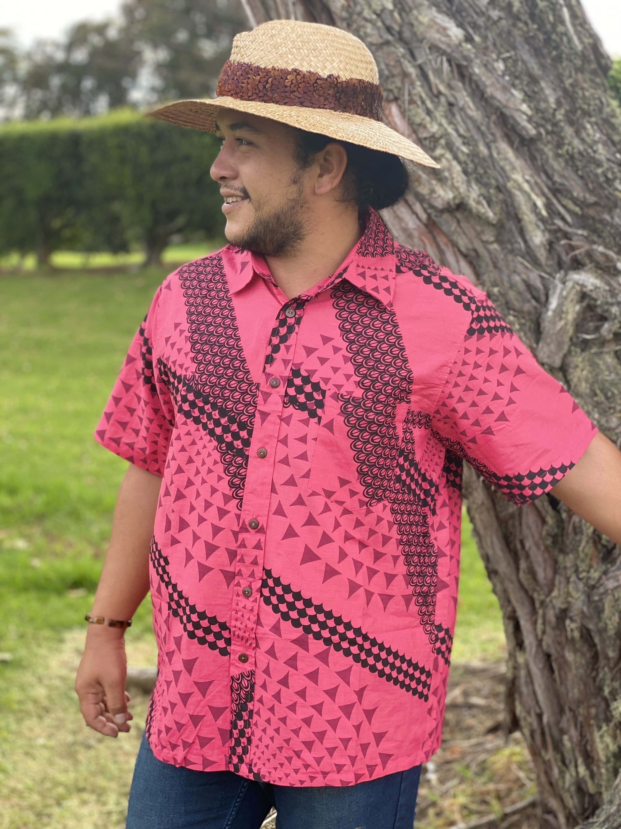 Men's Button Up Aloha Shirt: Watermelon