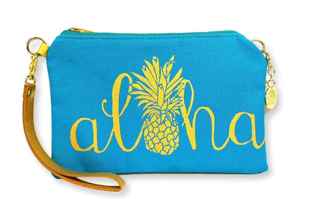 Aloha Pineapple Wristlet Clutch: Teal w/ Gold