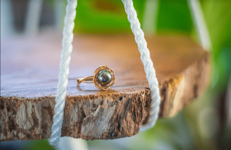Birds Nest Tahitian Pearl Ring: Gold Filed
