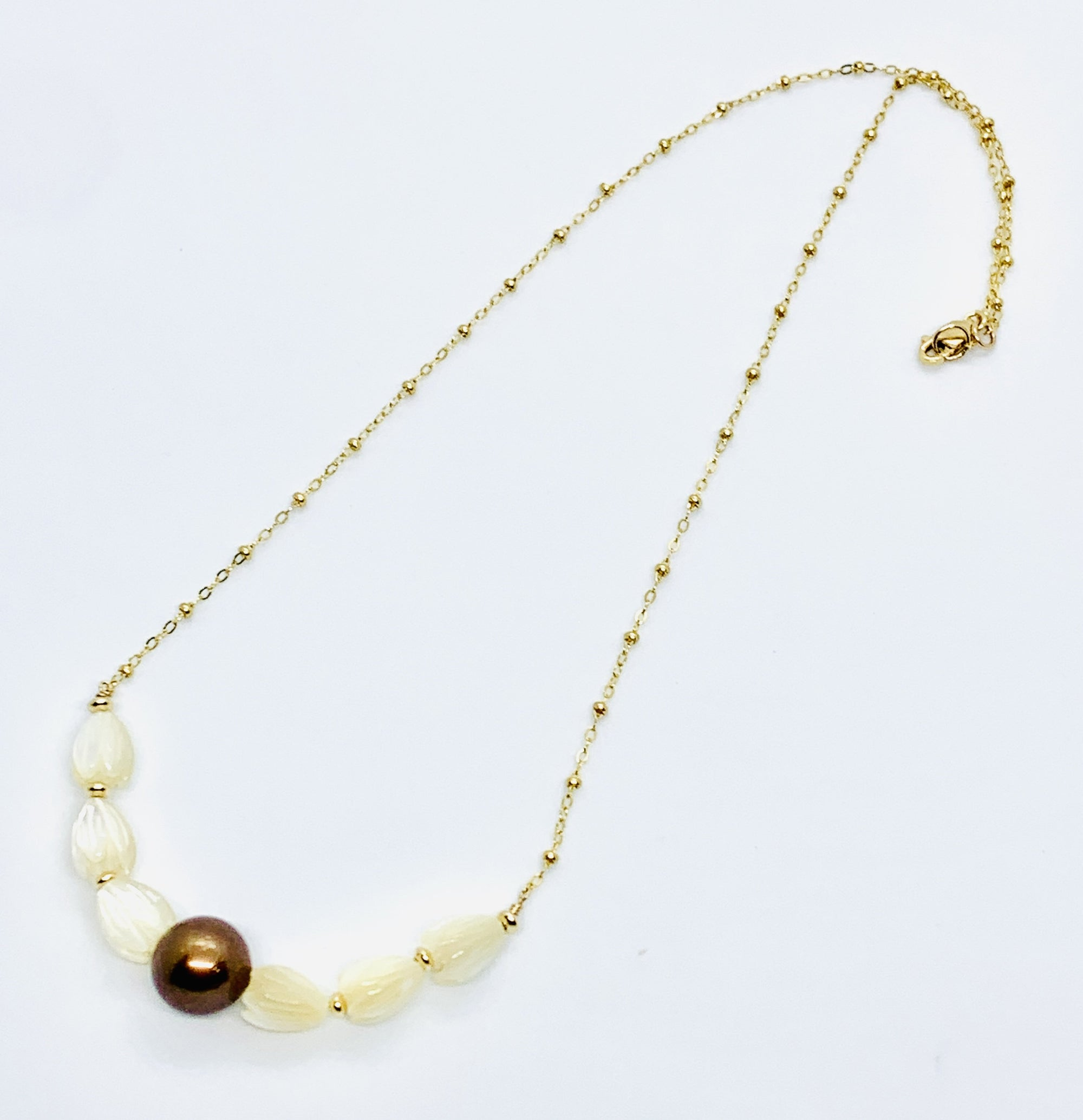 Chocolate Tahitian Pearl and Pikake Bloom Necklace
