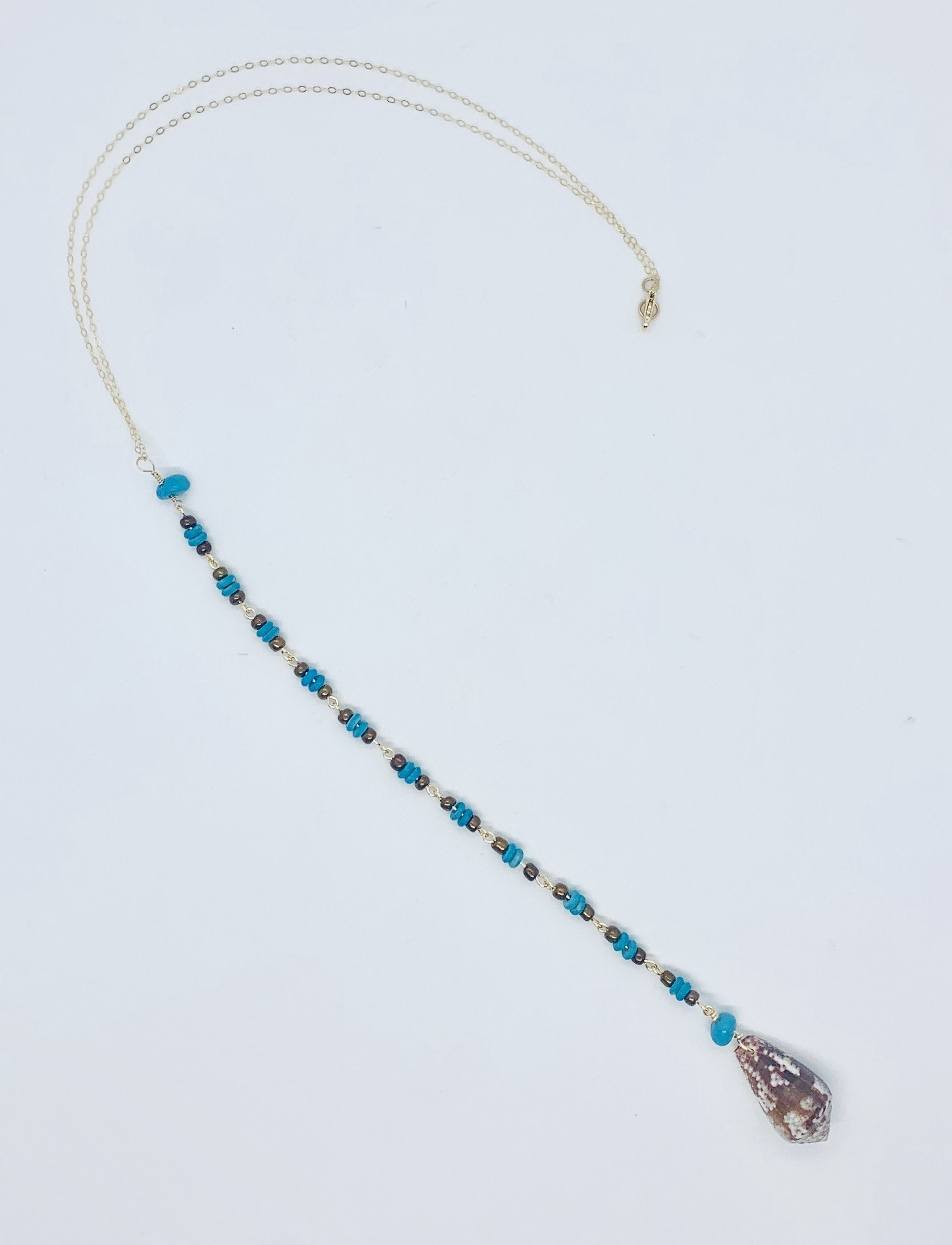 Cone Shell with Turquoise and Brown Bead Lariat