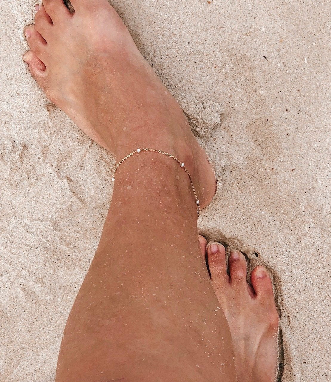 Cute White Freshwater Pearl 14K Gold Filled Anklet