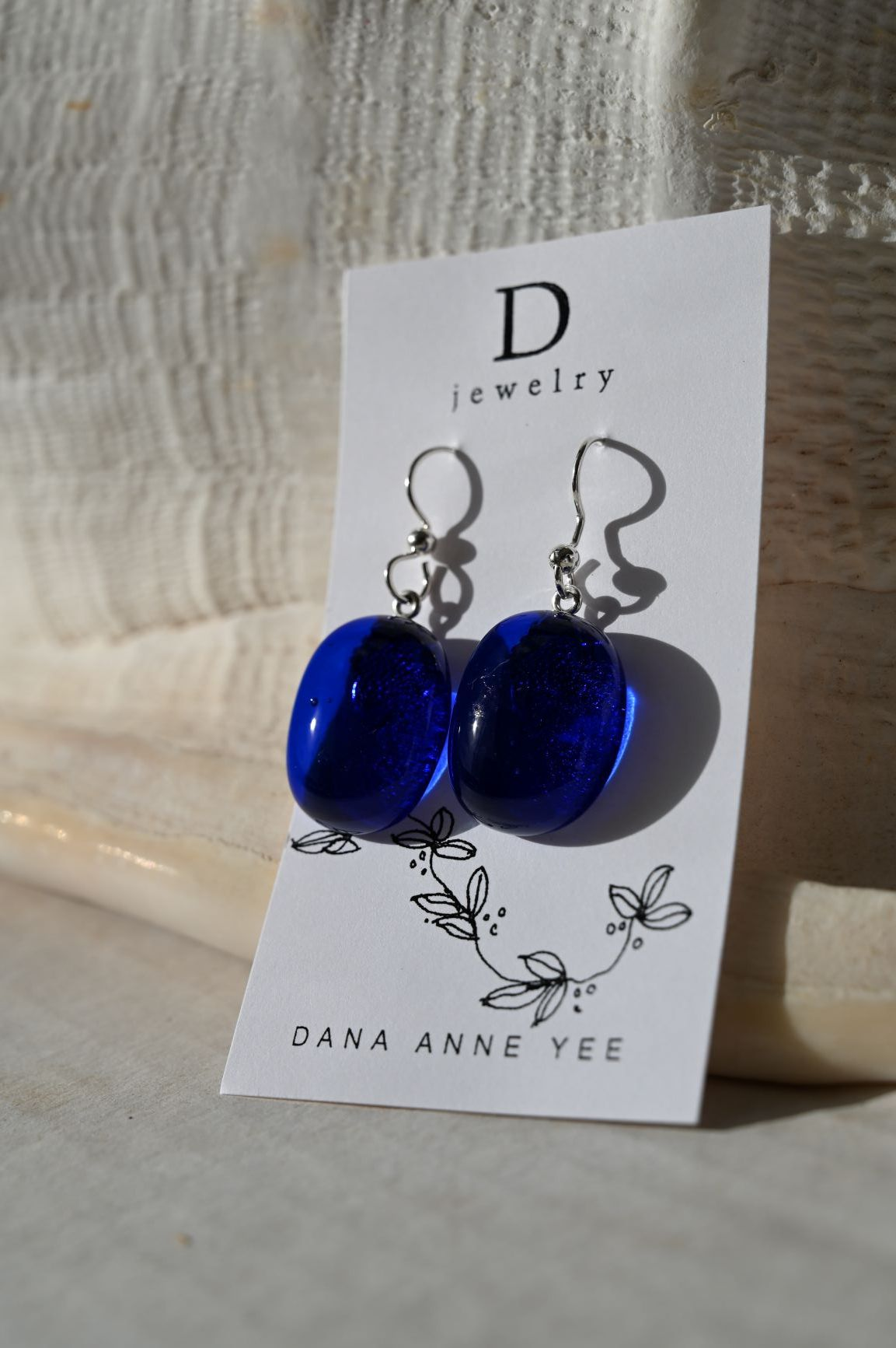 DAY-106 - Royal Blue Oval Glass, Sterling Silver, Earrings