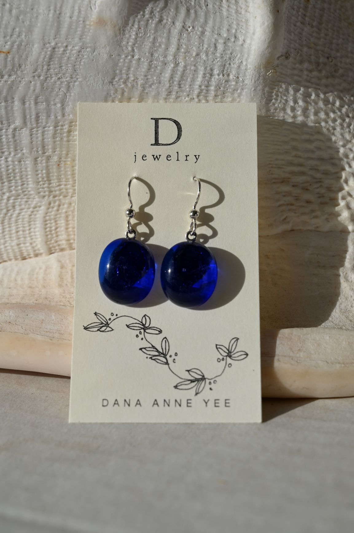 DAY-108 - Royal Blue Oval Glass, Sterling Silver, Earrings