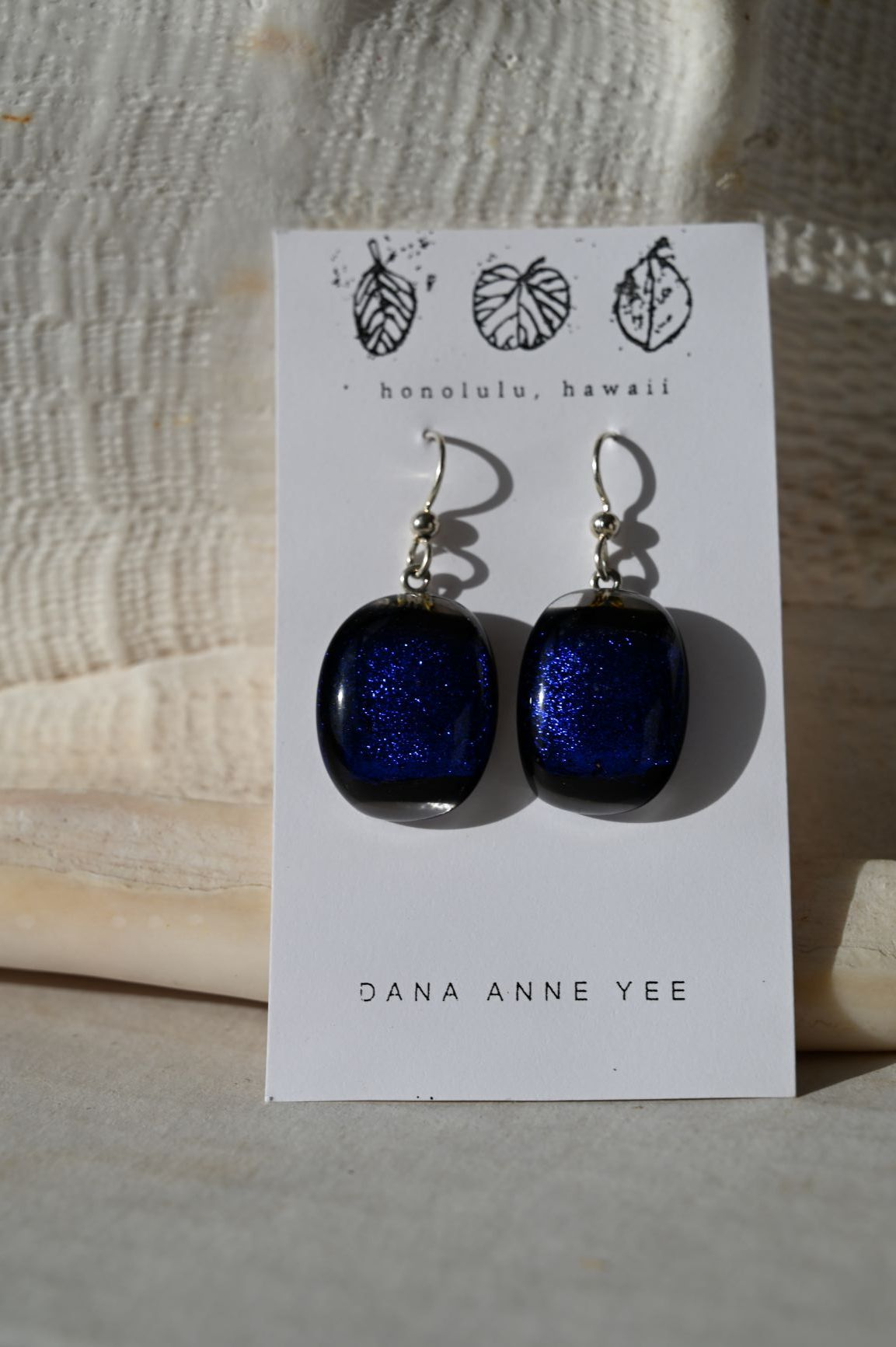 DAY-109 - Royal Blue Clear Oval Glass, Sterling Silver, Earrings
