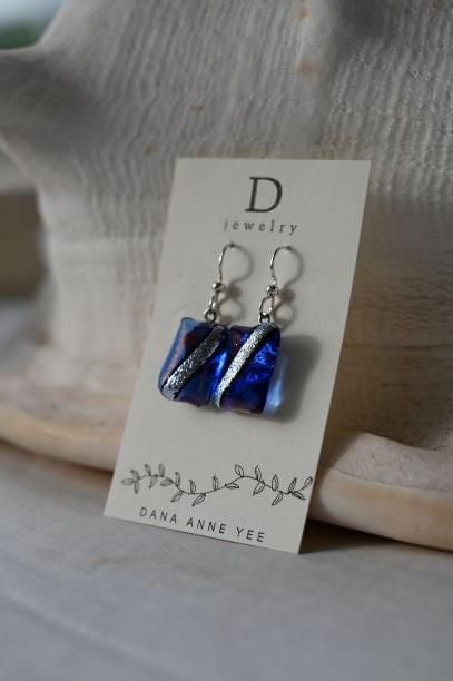 DAY-116 - Royal Blue with Silver Stripe Retangular Dichroic Glass, Sterling Silver, Earrings