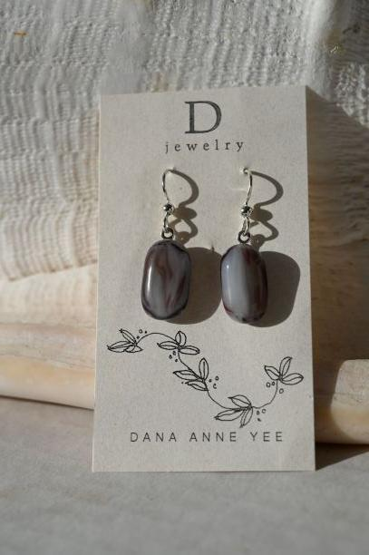 DAY-123 - Mauve White Swirl Glass, Sterling Silver, Earrings