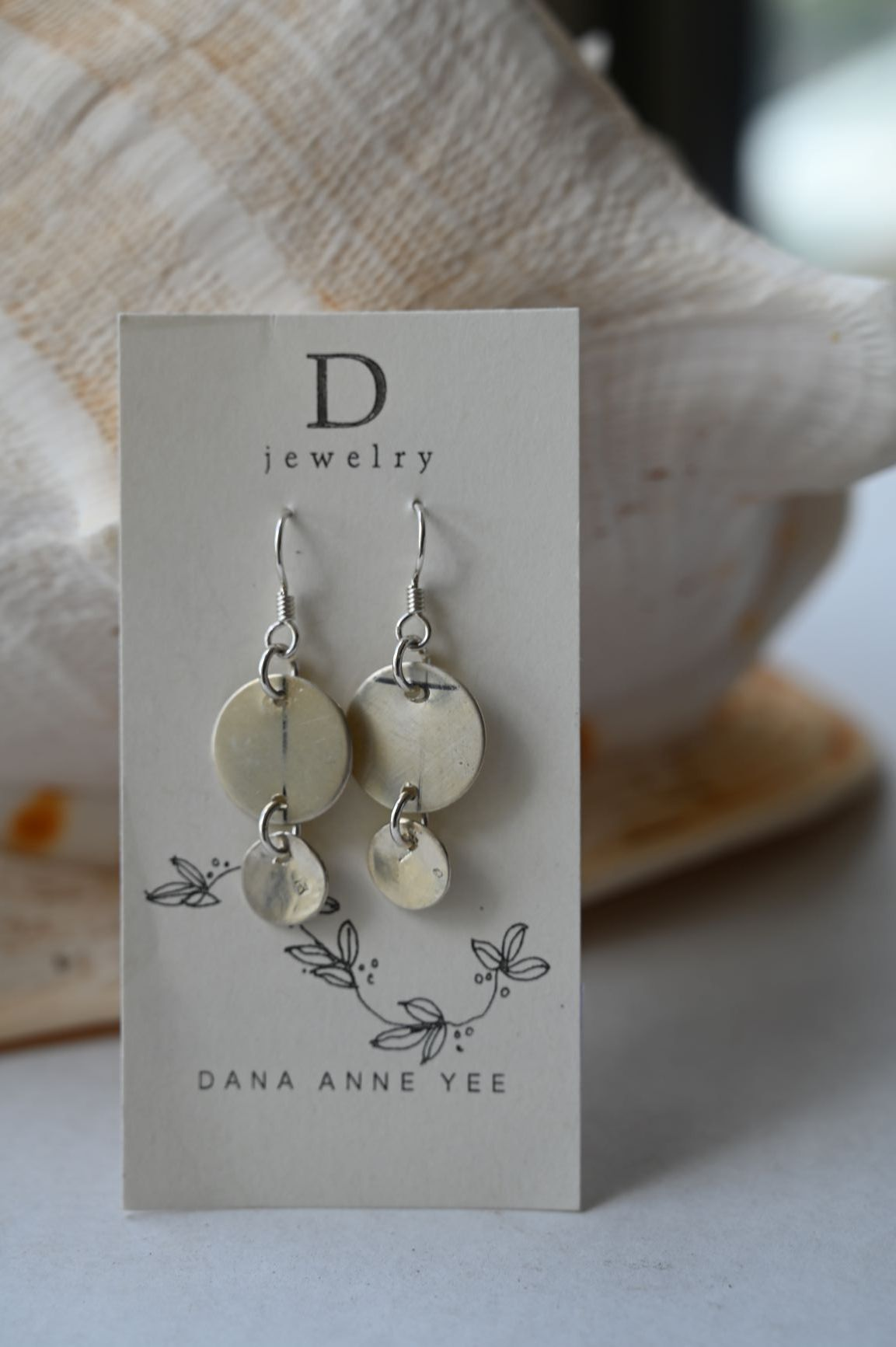 DAY-124 S - 1 Small Moon 1 Big Moon, Sterling Silver, Earrings