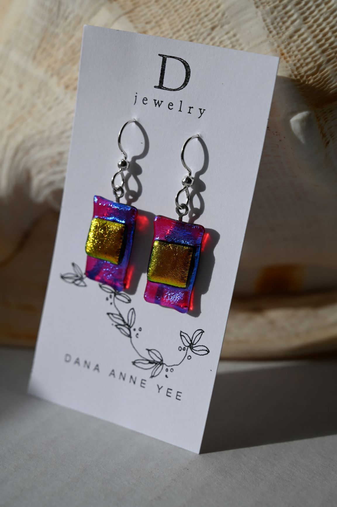 DAY-12 - Magenta Orange Dichroic Rectangle Glass, Sterling Silver, Earrings