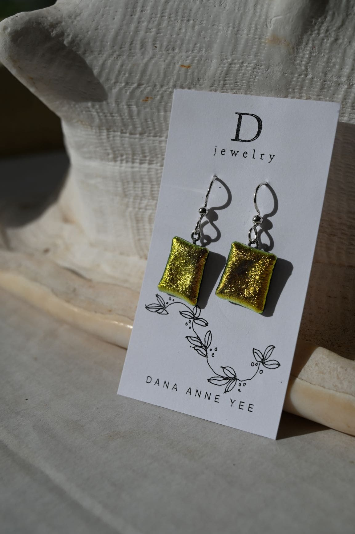 Dana Anne Yee Jewelry & Art: DAY-69 - Orange Dichroic Rectangle Dichroic Glass, Sterling Silver, Earrings