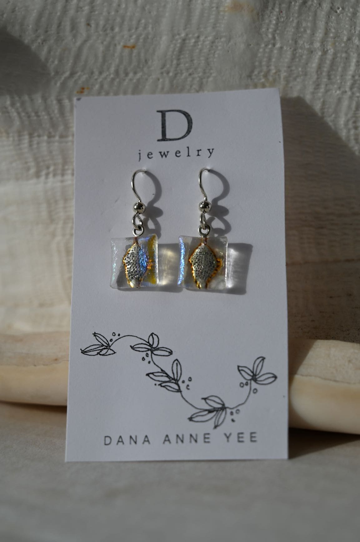 Dana Anne Yee Jewelry & Art: DAY-96 - Clear Rainbow Square Iridized Glass, Sterling Silver, Earrings