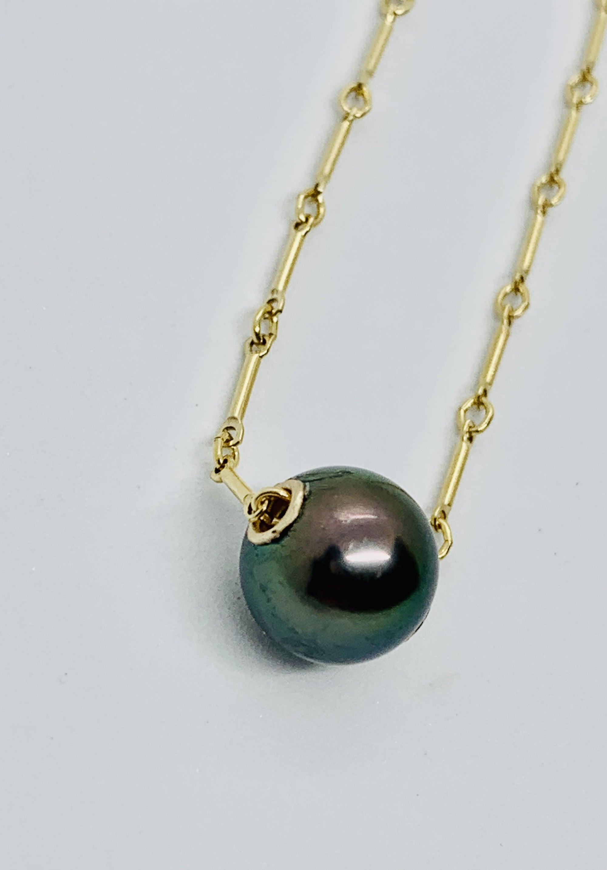 Dark Peacock Tahitian Pearl Floating Necklace
