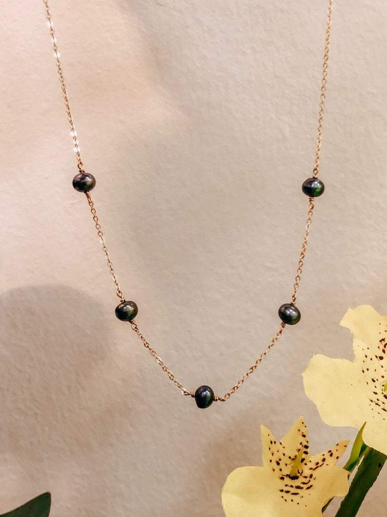 Delicate Peacock Freshwater Pearl 14K Gold Filled Necklace