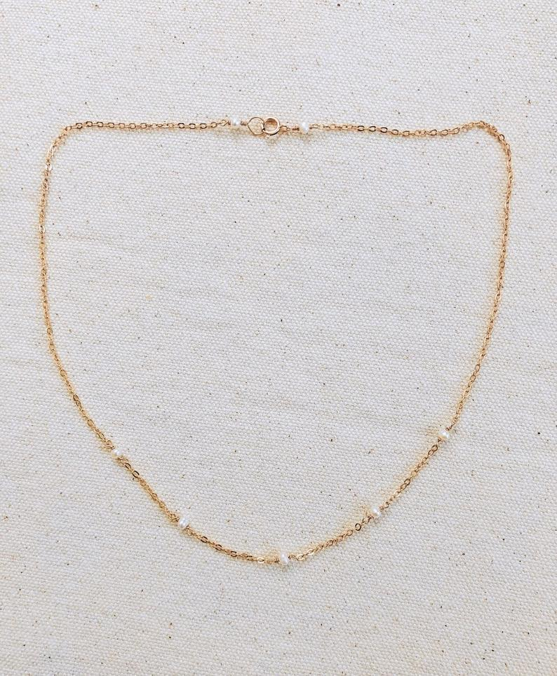 Delicate White Freshwater Pearl 14K Gold Filled Necklace
