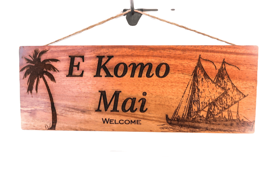 E Komo Mai Wall Sign Canoe engraving