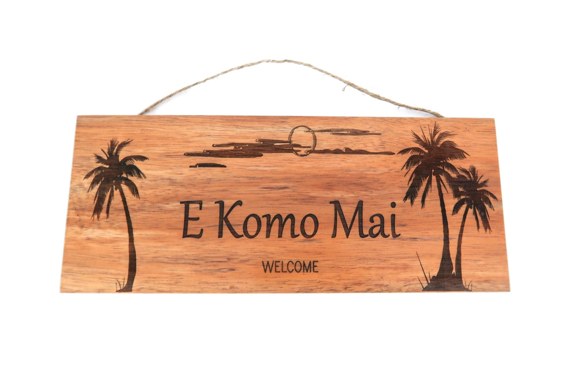 E Komo Mai Wall Sign Palms engraving