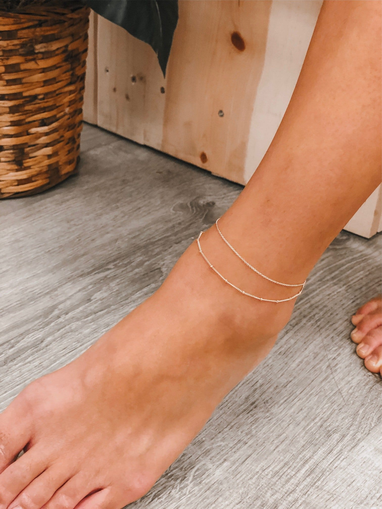 Elegant 14K Gold Filled Flat Cable and Satellite 2in1 Layered Anklet