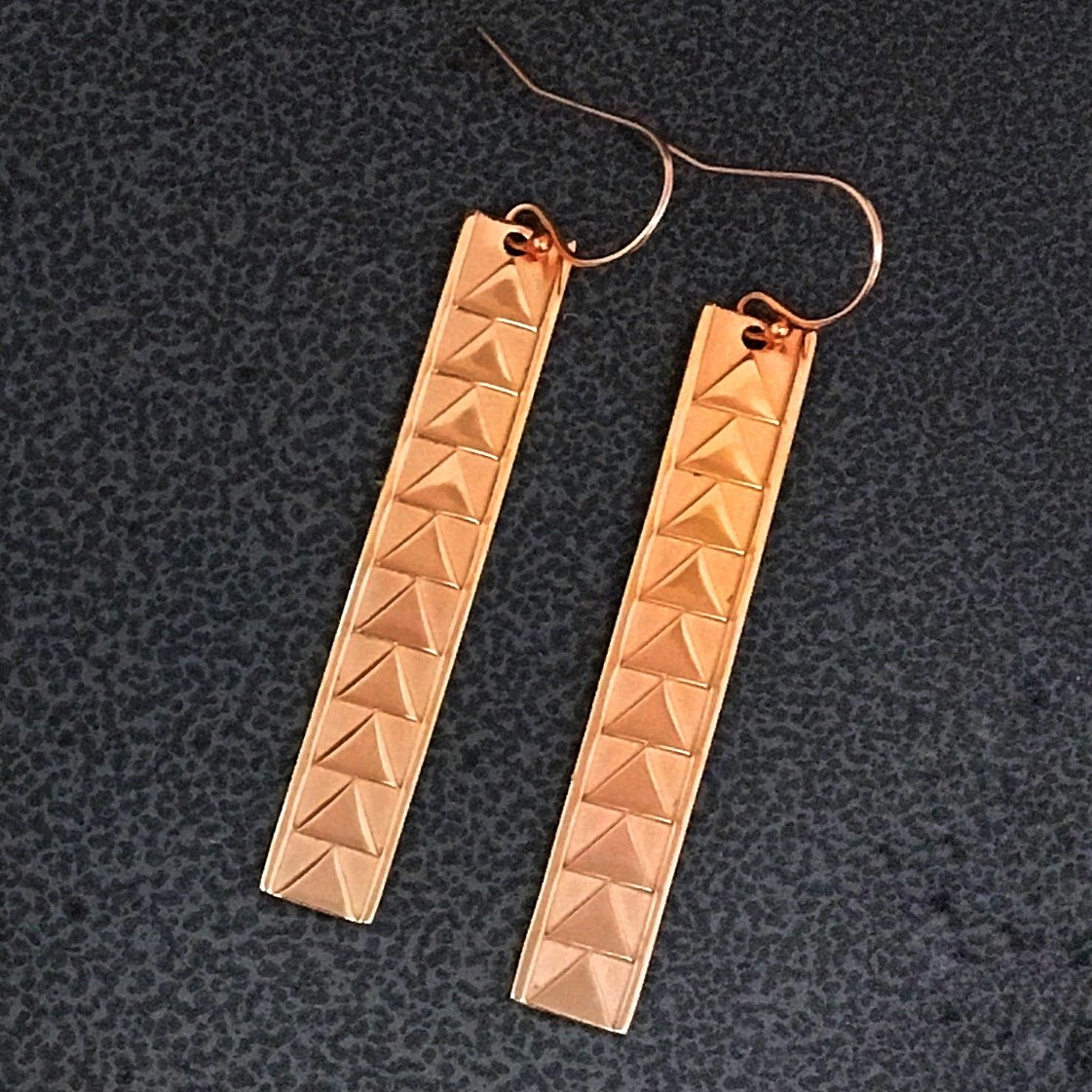 Hawaiian Bar Earrings with Triangle Designs: Rose Gold Vermeil