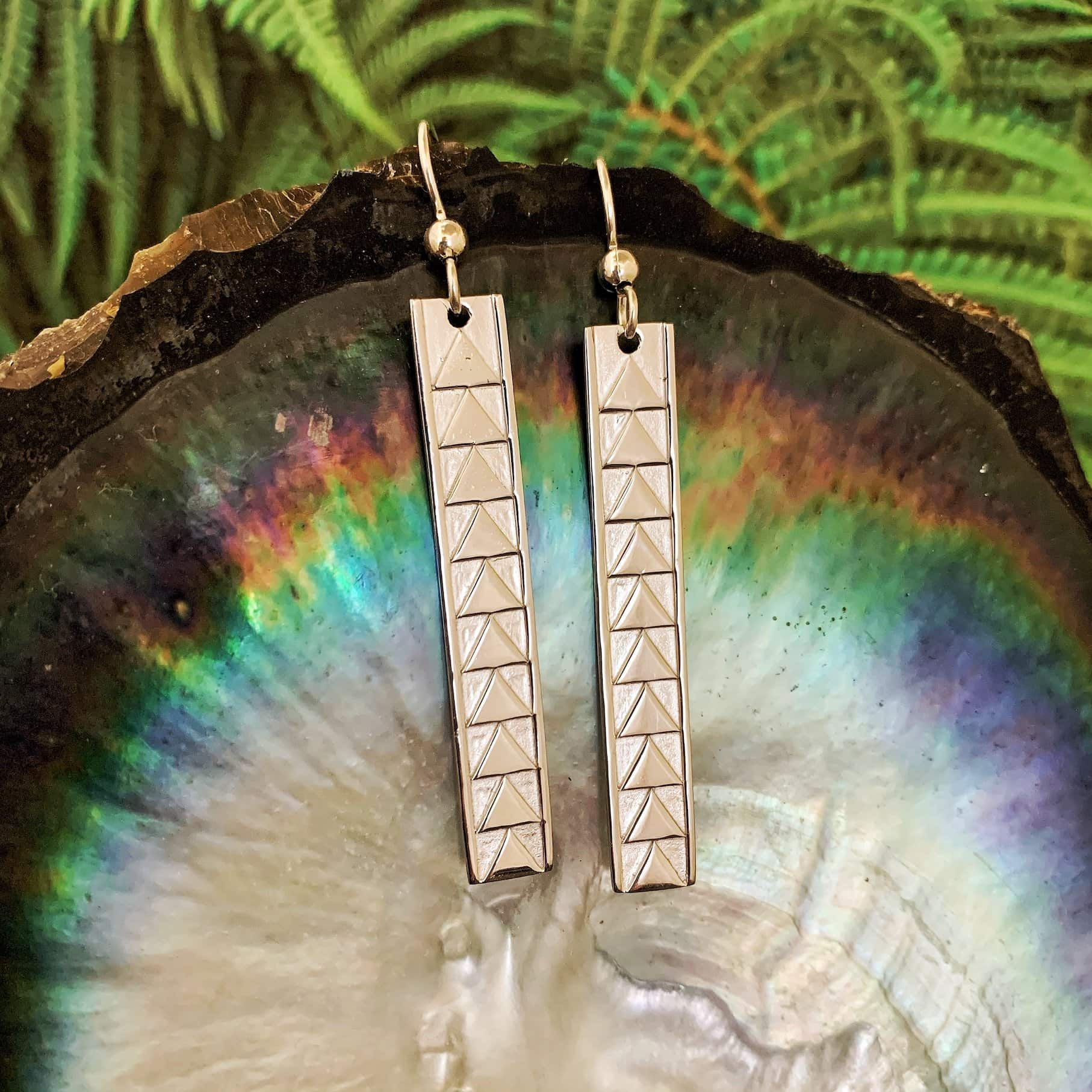 Hawaiian Bar Earrings with Triangle Designs: Sterling Silver