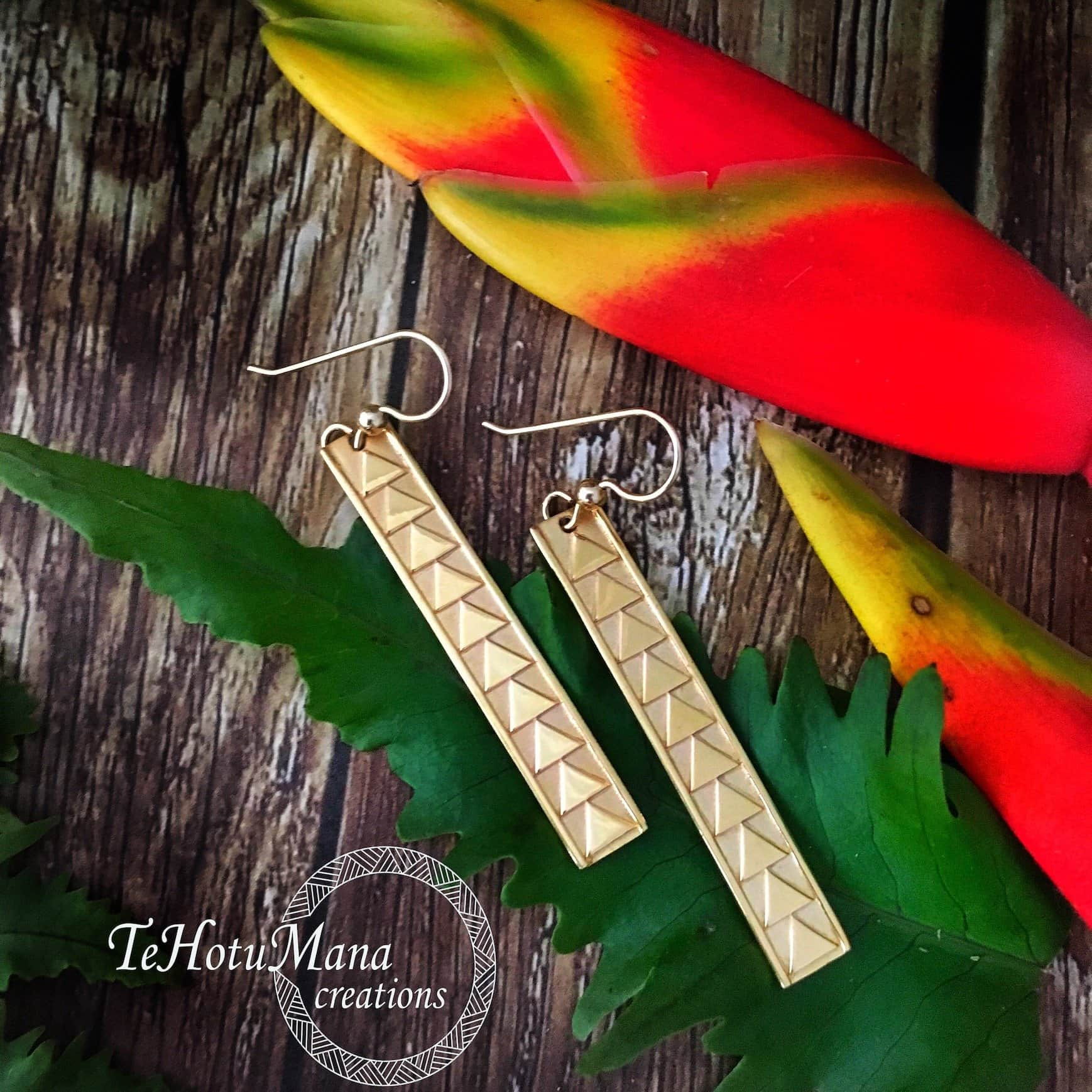 Hawaiian Bar Earrings with Triangle Designs: Yellow Gold Vermeil