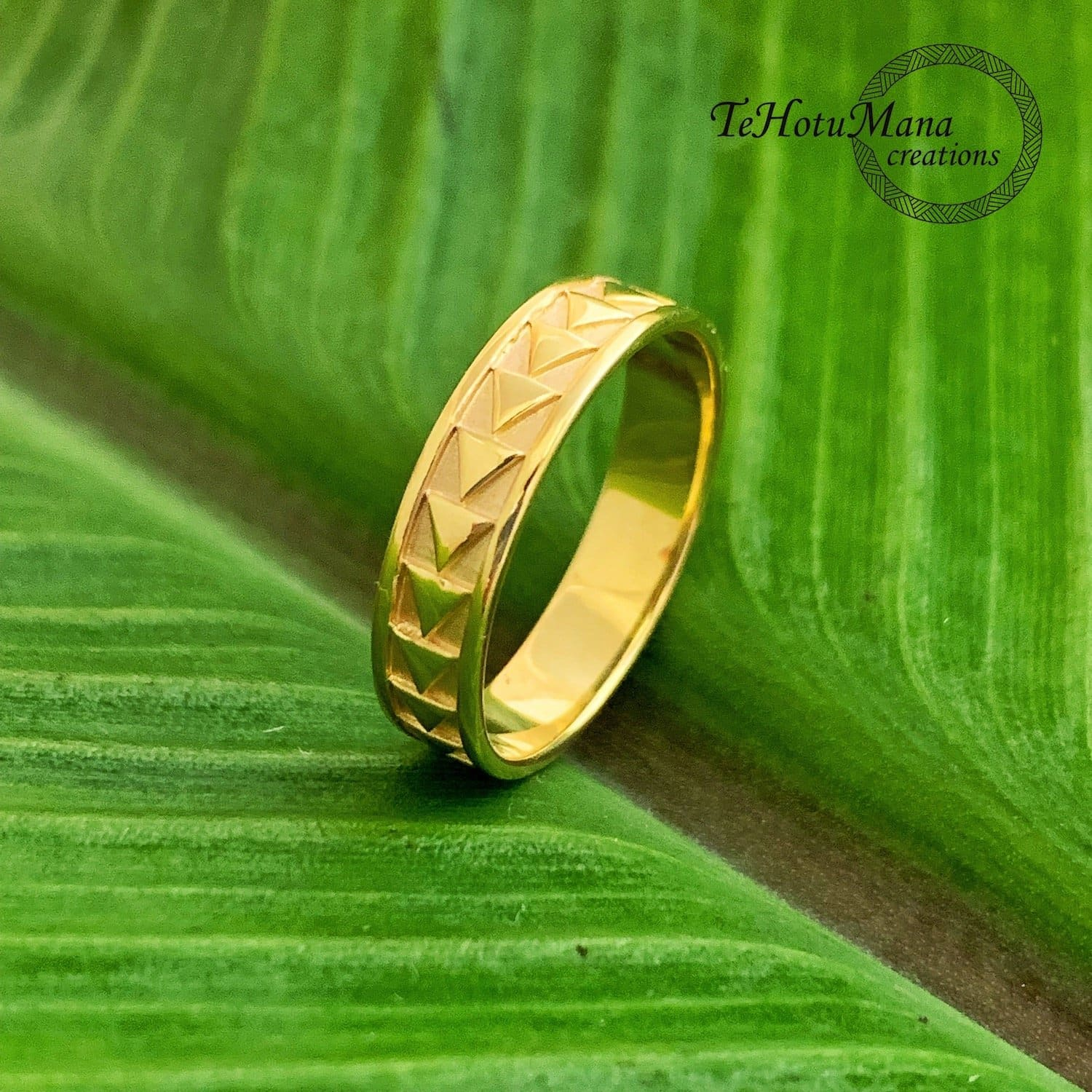 Hawaiian Ring with Cultural Design, Yellow Gold Vermeil