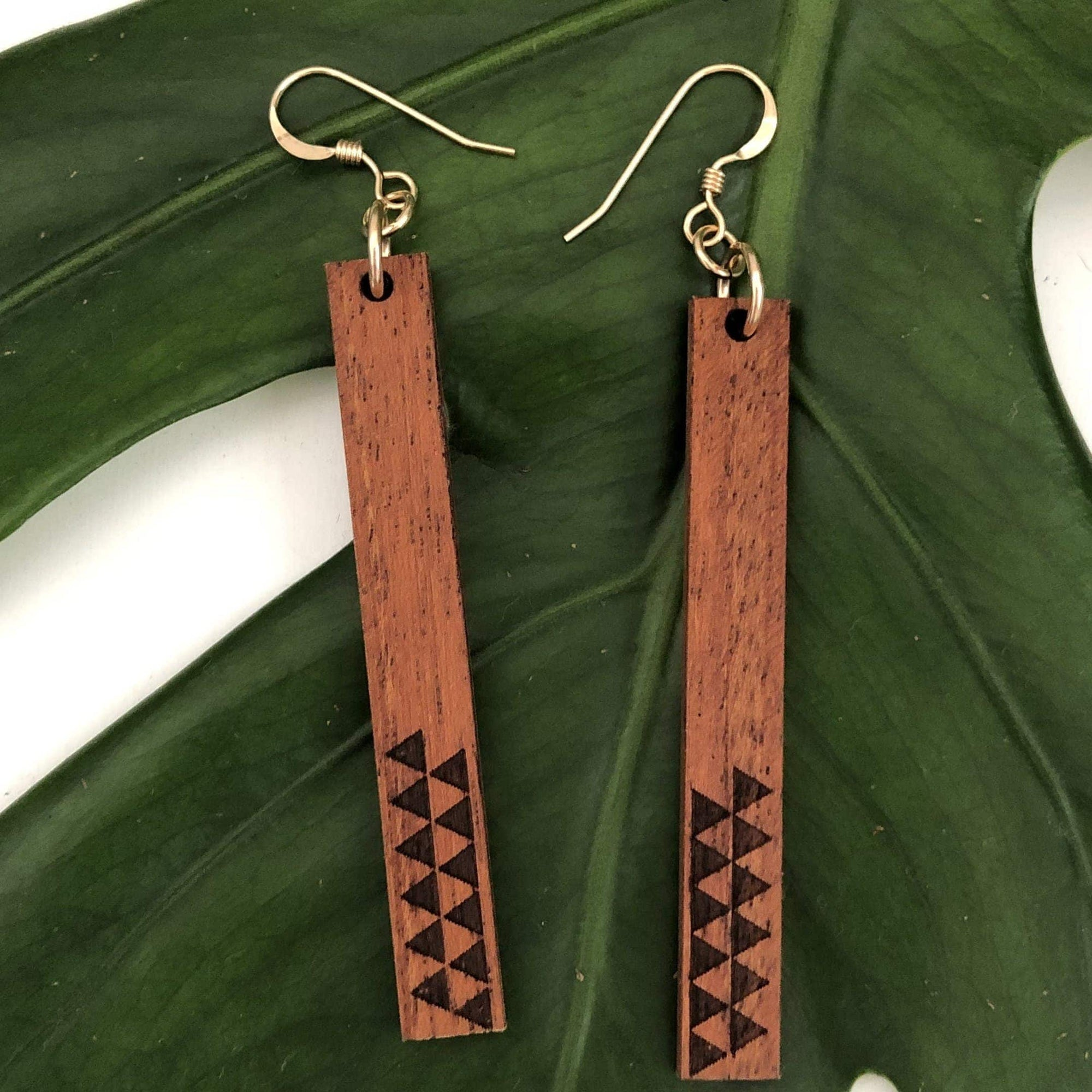 Huinakolu Triangle Kapa Hawaiian Koa Wood - 14k Gold Filled Earrings