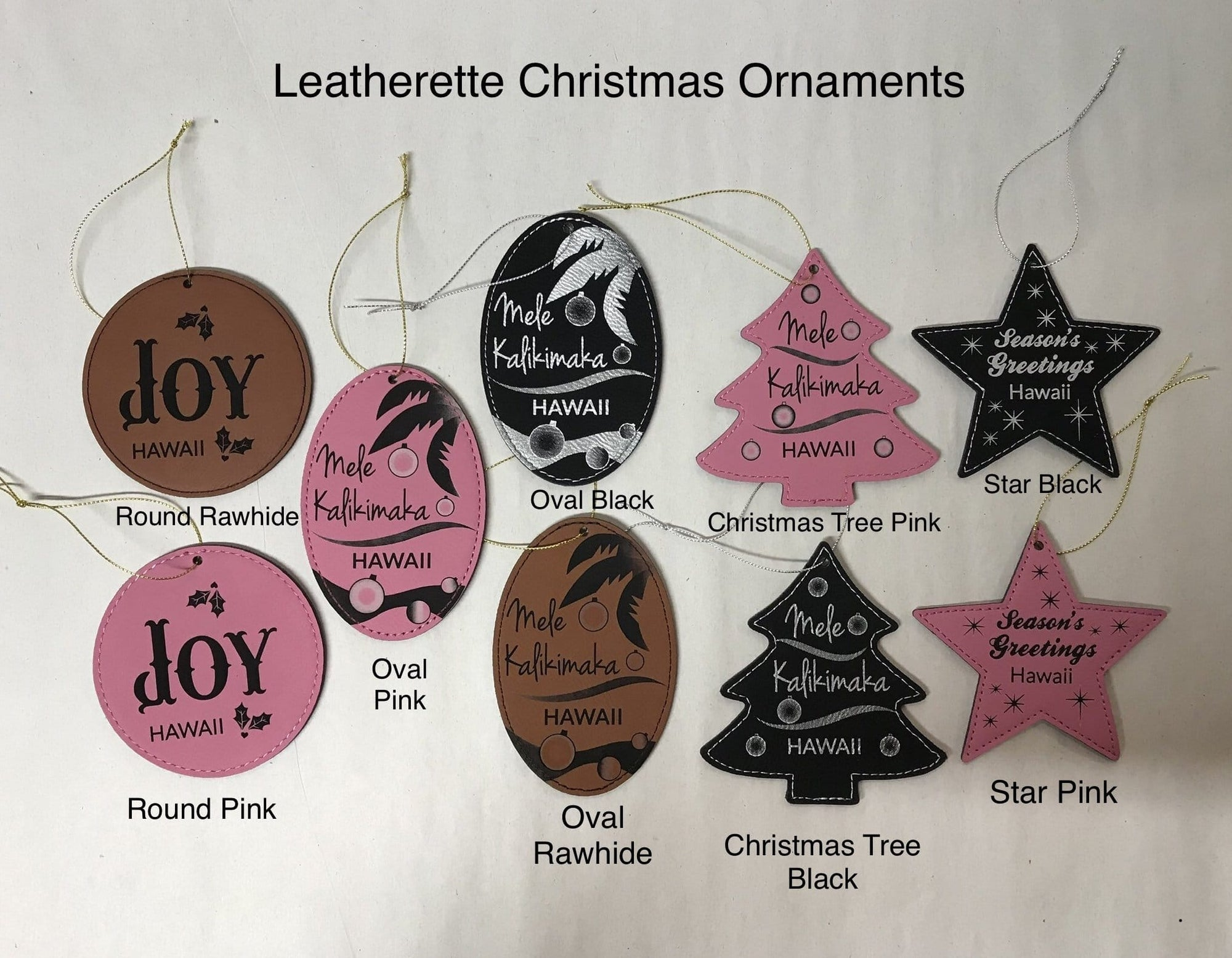 Leatherette Christmas Ornament: Round Design