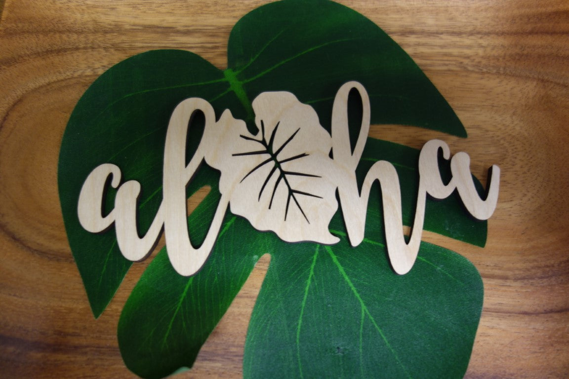 Laser Cut Aloha Kalo Wood Small Cut Out