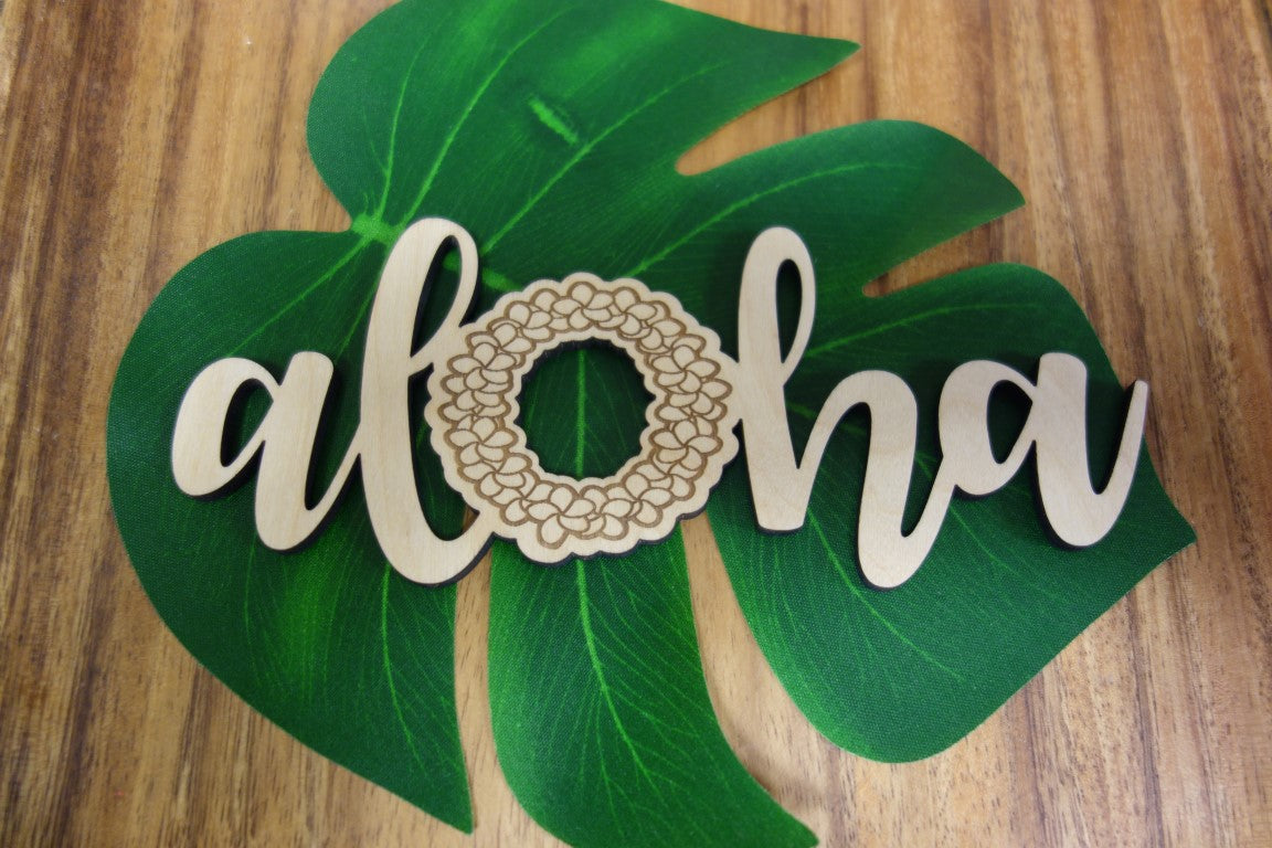 Laser Cut Aloha Plumeria Lei Wood Cut Out