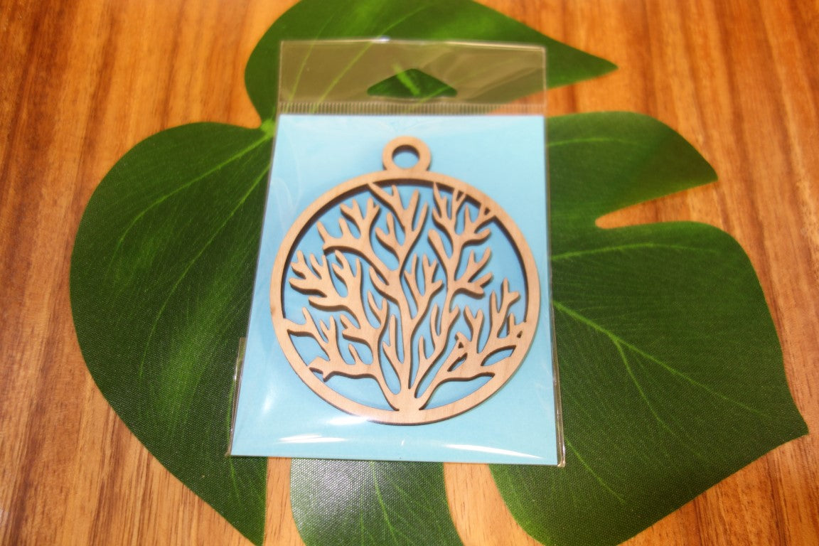 Laser Cut Coral Wood Ornament
