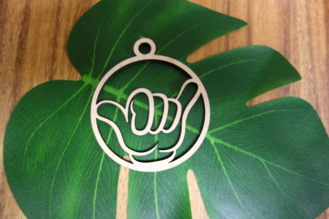 Laser Cut Shaka Wood Ornament