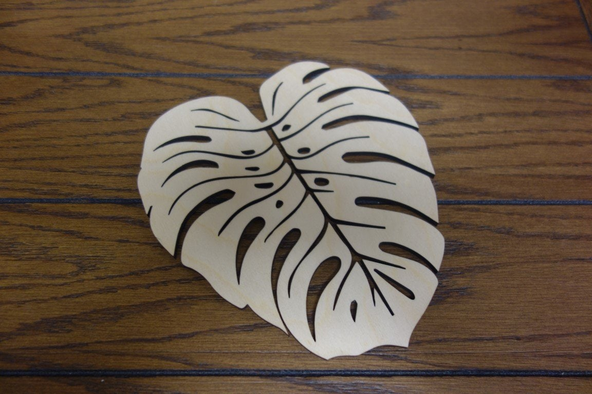"Laser Cut Wood 8"" Monstera Trivet"