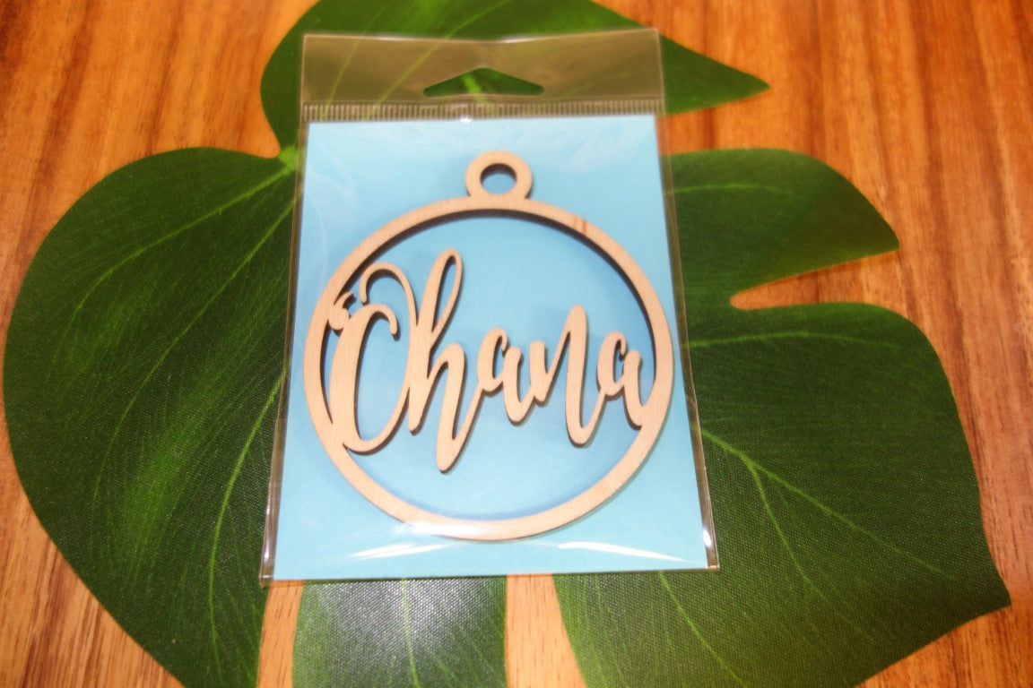 Laser Cut Ohana Wood Ornament