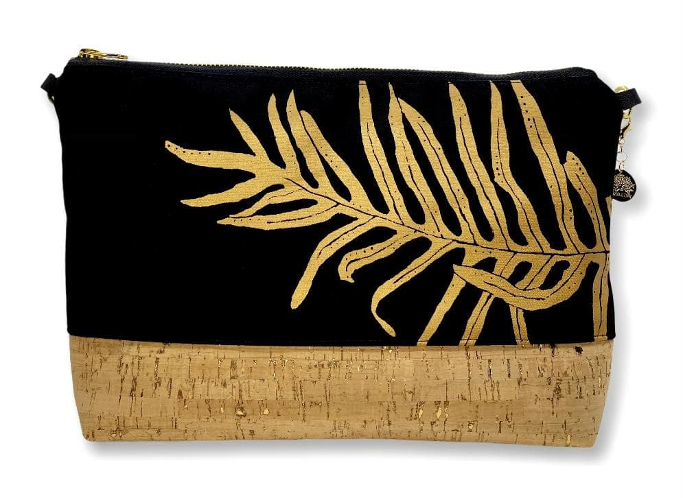 Laua'e Large Purse: Black w/ Gold and Natural Cork