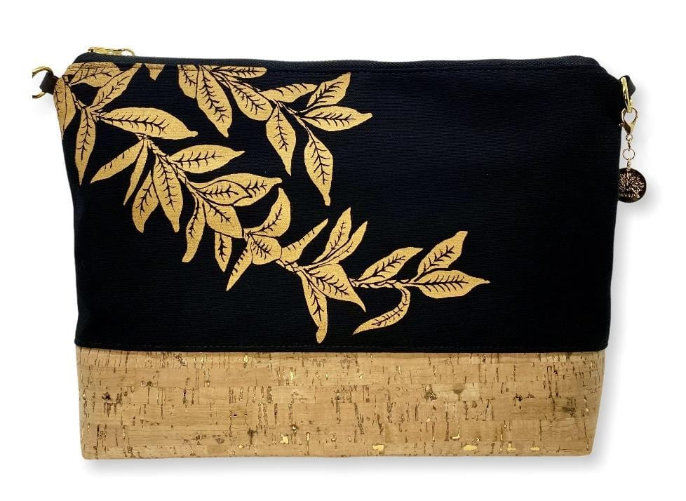 Maile Lei Large Purse: Black w/ Gold