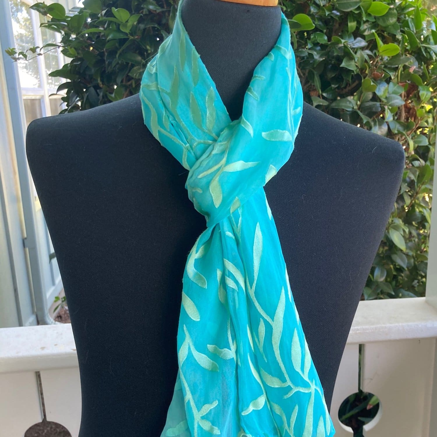 Maile Silk and Rayon Scarf in Turquoise and Green