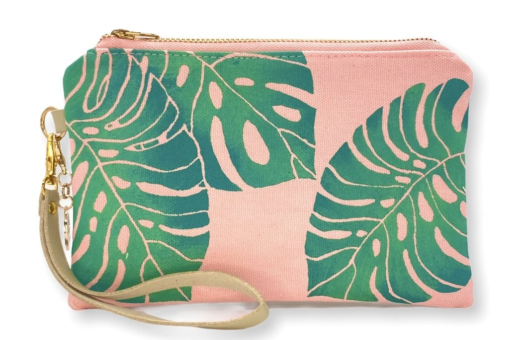 Monstera Wristlet Clutch: Coral w/teal