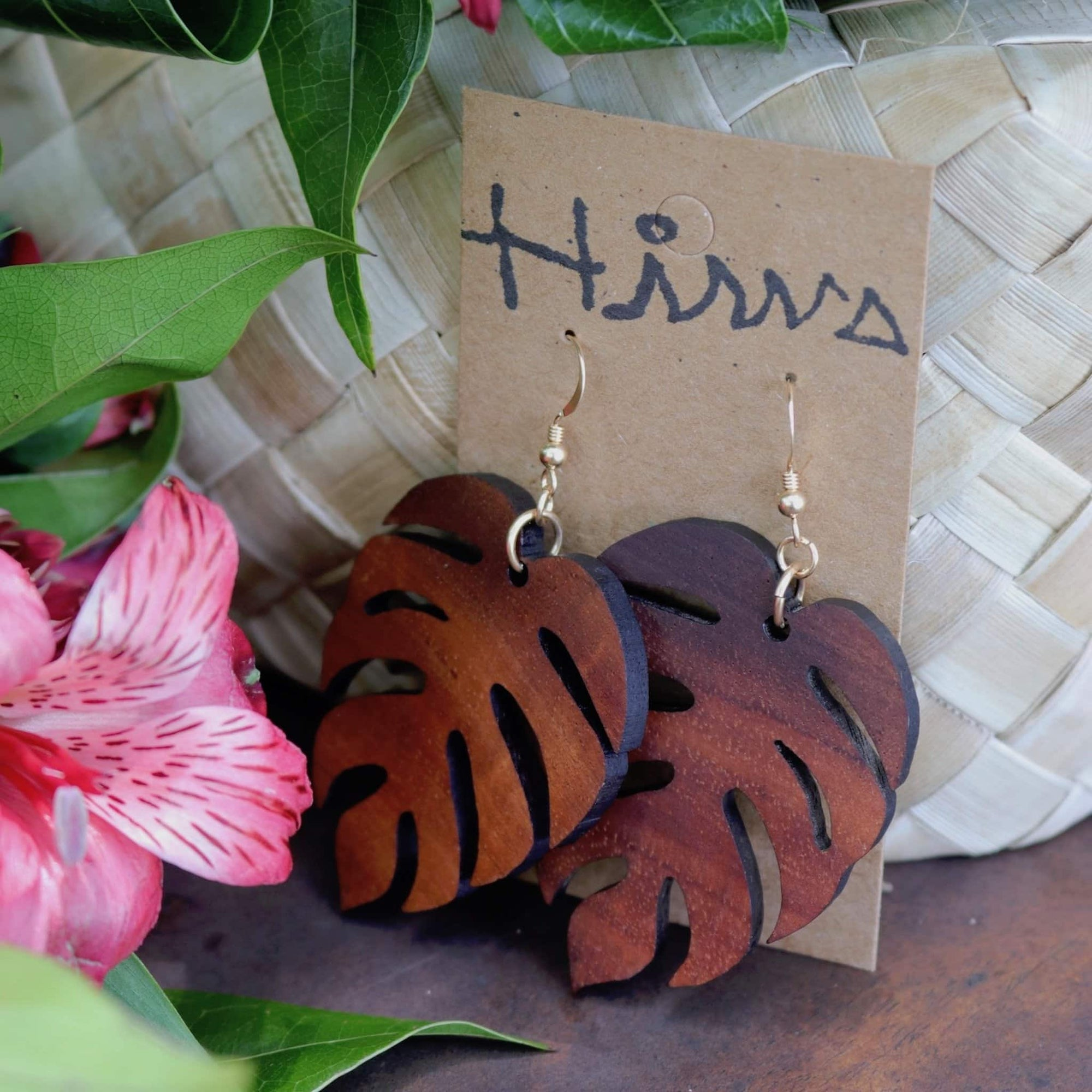 Monstera Hawaiian Koa Wood - 14k Gold Filled Earrings (Large)