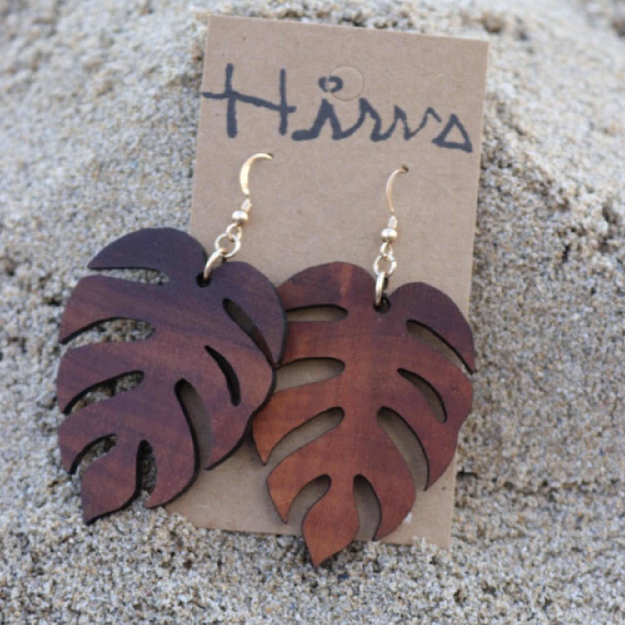 Monstera Hawaiian Koa Wood - 14k Gold Filled Earrings (Small)
