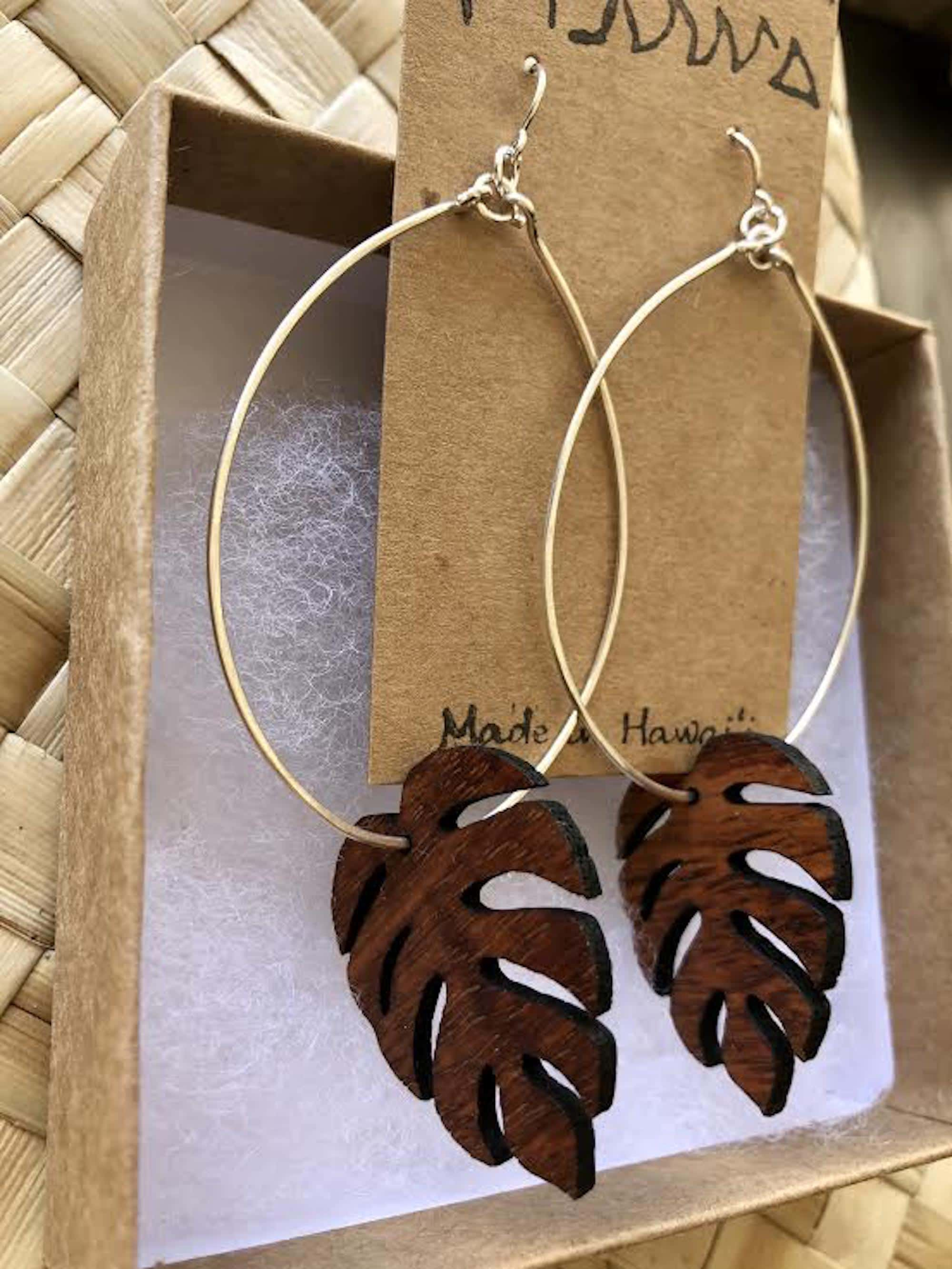 Monstera Hawaiian Koa Wood - 14k Gold Filled Hoop Earrings