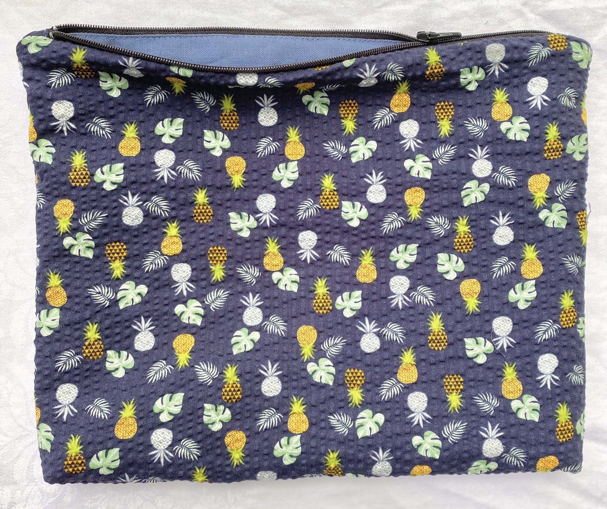 Crystal Rose Label: Navy Monstera + Pineapple Soft Zippered Pouch