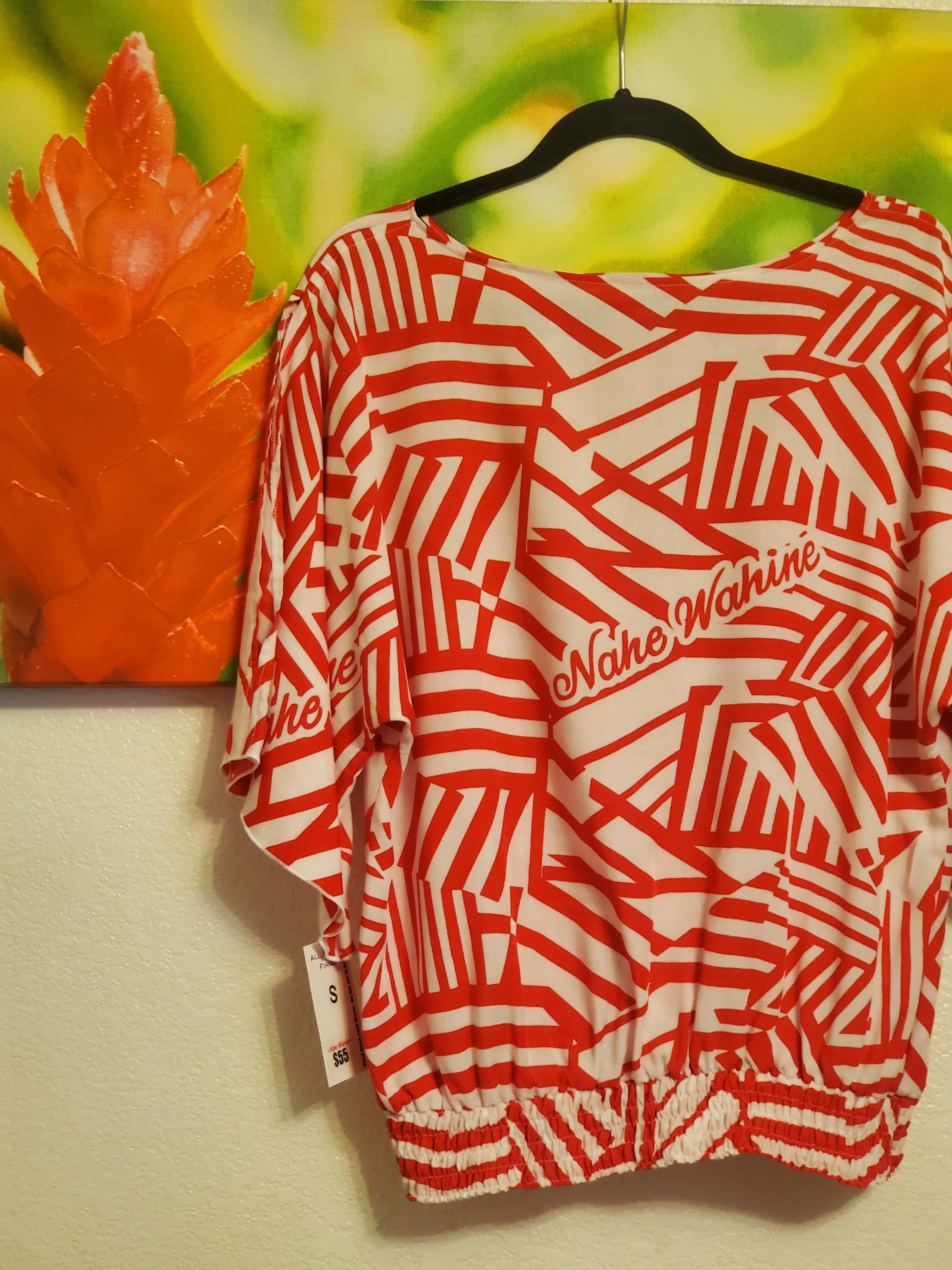 Makuahine Top Alakai Blush Red/ White -WITH shirring