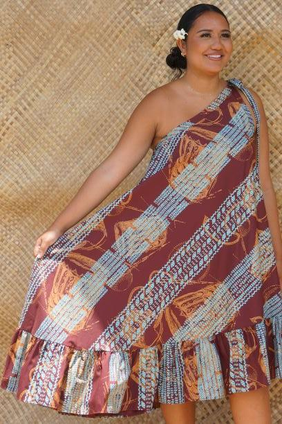 Pahu Puniu Ohe Kapala One-shoulder Dress